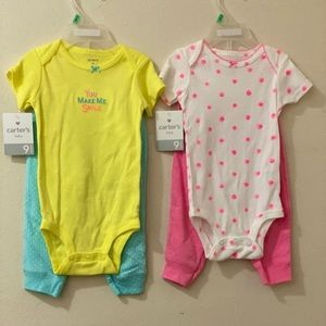 Carter's Girls 6/9 months 2 pc sets - Lot of 2 NWT